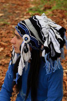 Crochet beanie, imitation authentic indian headdress, native american chief hat, handmade warbonnet, feather headdress, knitted shaman roach