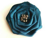 Teal Satin Ribbon Flower Brooch