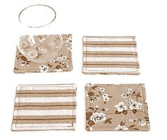 Floral linen coaster Set of 4  Shabby chic drink by SABDECO