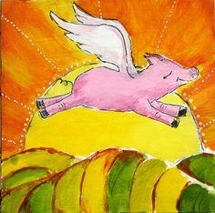 "Flying Pig sunrise mixed media painting 5""x5"" PRINT"