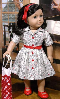 Red Valentine Hearts Shirt Dress by SugarloafDollClothes Sewing Doll Clothes, Girl Doll Clothes, Doll Clothes Patterns, Girl Dolls, Ag Dolls, Barbie Clothes, Doll Patterns, Dress Patterns, American Girl Outfits