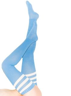 Glastonbury Festival Fashion Inspiration. OVER THE KNEE SOCKS, knit, slub green, thigh high, welly socks, Stripe Thigh-High Socks, baby blue, college