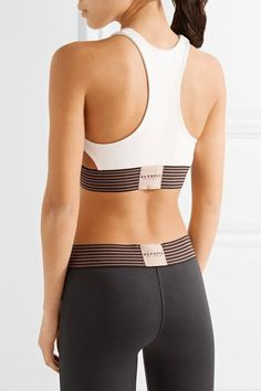 Olympia Activewear - Troy Cutout Striped Stretch-jersey Sports Bra - Cream - x small
