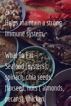 Zinc- Helps maintain a strong immune system.  What To Eat After ACL Surgery- Seafood (oysters), spinach, chia seeds, flaxseed, nuts ( almonds, pecans), chicken.
