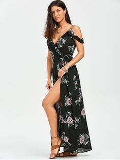 AD   Floral Cold Shoulder Wrap Dress - FLORAL Occasions  Beach and Summer  ce21af6efa6e
