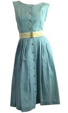 Blue Denim Sleeveless Summer Dress Floral Elastic Waist circa 1960s