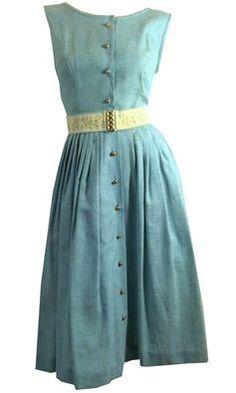 Blue Denim Sleeveless Summer Dress Floral Elastic Waist circa 1960s