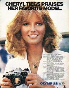 """1980 OLYMPUS CAMERA vintage magazine advertisement """"Cheryl Tiegs"""" ~ Cheryl Tiegs Praises Her Favorite Model. - Once I get going, I can talk about the Olympus OM-10 all day. ... photograph by David Deahl ~"""