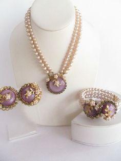 VTG Miriam Haskell Style Necklace Bracelet Earring Parure Purple Rhinestones  #Unbranded