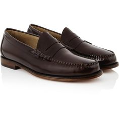 Bass Wejuns Larson Penny Loafers (225 AUD) ❤ liked on Polyvore featuring shoes, loafers, brown, polish shoes, small heel shoes, brown leather shoes, shiny shoes and leather shoes
