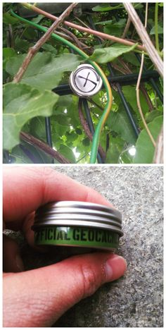 """Cute little container.  How did they get the """"G"""" on the top?  Looks like it's sitting on a metal fence; I wonder if it's magnetic?  (pics from Instgram stitched together by I.B. Geocaching and pinned to Geocaching Pictures - pinterest.com/islandbuttons/geocaching-pictures/)  #IBGCp"""