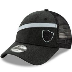 check out 60a7b 5b499 Men s Oakland Raiders New Era Heathered Black Black Label Scale Trucker  9FORTY Snapback Adjustable Hat,  27.99