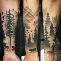 Forest Silhouette Tattoo Forest Silhouette Art Tattoos And Cool