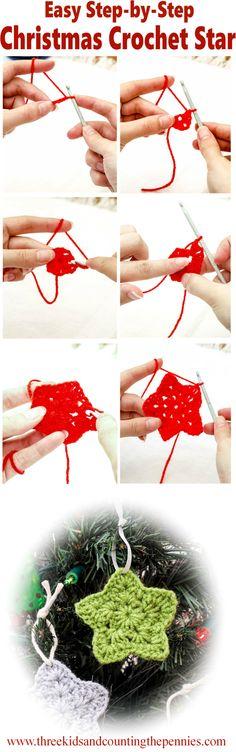 Instructions for a very Festive Christmas Crochet Star.