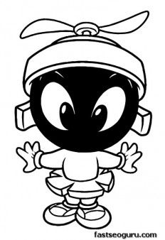 Printable Baby Looney Tunes Marvin Coloring Pages