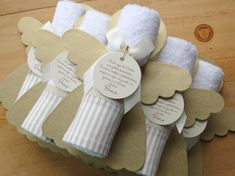 Baptism Party Decorations, First Communion Decorations, Baptism Favors, Welcome Baby Party, Towel Crafts, Communion Gifts, Baby Decor, Baby Shower Cakes, Party Favors