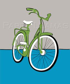 bicycle print - custom colors available- boy bike print retro modern art for kids and adults