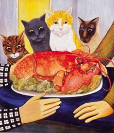 Four Hungry Cats ~ Art by Beryl Cook