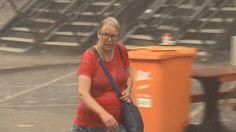 Een vrouw moest voor behandeling naar het ziekenhuis nadat ze door een afgebroken tak werd geraakt.