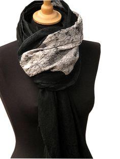 8a3030171c1b3 Black silk scarf, Nuno felted silk and merino wool scarf in black and white