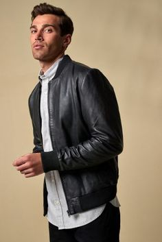 d7e6457f9e757f Buy Black Leather Bomber Jacket from the Next UK online shop