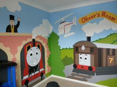 Thomas The Train Chair Rail Prepasted Wall Art Mural (6u0027 X 10.5u0027) | Mural  Designs For Kids | Pinterest | Wall Murals, Engine And Parents