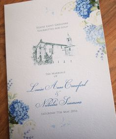 Blue Hydrangea Wedding Order of Service Sheet
