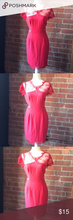 Pink short sleeve Dress with stunning Lace detail This dress is perfect for spring & summer! Can be dressed up or down. Beautiful hot pink color with eye-catching lace detail. Back top is all lace. Hidden Side zip. Size 8. Dresses Mini