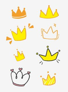 Hand Painted Cute Glory Golden Crown Decoration Hand Account Material Journal Scrapbook PNG and PSD Crown Illustration, Princess Illustration, Crown Png, Cake Logo Design, Doodle Characters, Note Doodles, Golden Crown, Wedding Frames, Rock Crafts