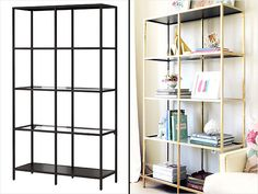 Ikea Hack: How To Transform and Repurpose Your Ikea Furniture - iVillage - Use gold spray paint on $70 Ikea shelving unit