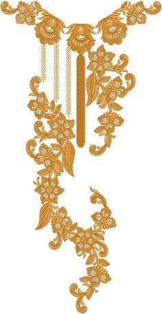 Latest Neck Designs for Kurtis / Dress / Suit / Men's Neck, Border Embroidery Designs, Kurti Embroidery Design, Free Machine Embroidery Designs, Latest Embroidery Designs, Embroidery On Kurtis, Hand Embroidery Dress, Gold Embroidery, Embroidery Boutique, Kurti Neck Designs