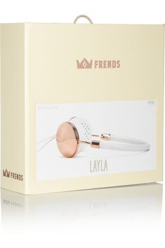 Frends' handcrafted rose gold-tone and white leather headphones are tuned for optimal clarity and fold away neatly into a soft carry case. Every detail of this portable pair has been carefully considered from the fabric-covered cord to the memory foam ear cushions.