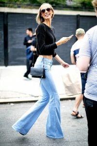 #summer #fashion / flared denim + cropped knit