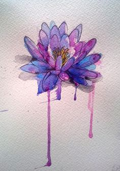Lotus flower watercolor--not the big drips at the bottom though