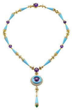 Bulgari Cocktail collection is inspired by the Mediterranean summer...... Bulgari Cocktail yellow Gold necklace mounting 13 Turquoise cones, 1 Turquoise creole, 7 Amethyst beads, 1 Emerald insert, and pavé Diamonds- Foto: © Bulgari
