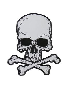 Reflective embroidered skull and crossbones patch with heat sealed backing. Perfect for leather jackets and leather vests.
