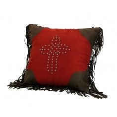 """Red Studded Cross Pillow with Fringe - 18"""" x 18"""""""