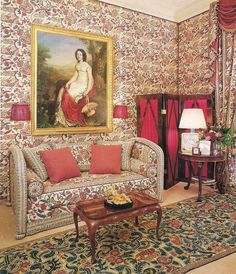 The Living Room of the Plaine Monceau apartment of Madame Antenor Patino as decorated by Francois Catroux. Photo by Marina Faust for Arc. Gracie Wallpaper, Of Wallpaper, Studio Interior, Interior Design, Fabric Covered Walls, Floral Sofa, Upholstered Walls, World Of Interiors, French Interiors