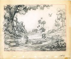 This is devoted to production art from the short films made during the Golden Age of Animation. For inspirational and educational purposes. Disney Sketches, Disney Drawings, Cartoon Drawings, Cartoon Art, Walt Disney, Animation Sketches, Mickey Mouse Cartoon, Disney Artwork, Perspective Art