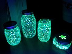 // Mason Jars // Glow in the dark mason jar. Some people use glow sticks and crack them. But wouldn't glow in the dark paint have the same effect just for forever?