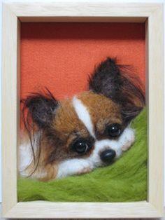 A tiny needle-felted papillion dog created by Mido Felt, tricolor (pinned from Mido Felt's own website by Nancy Lee Moran Fine Art) #needlefelting #papillion #dog
