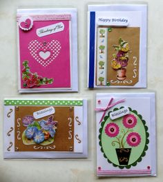 variety set of four greeting cards