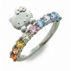 hello kitty rainbow ring silver swarovski elements japan ebay - Hello Kitty Wedding Ring