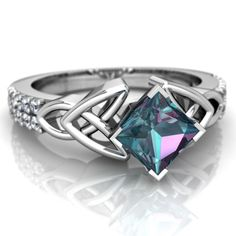 Lab Alexandrite Celtic Knot 14K White Gold ring R26445SQ - front view