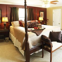 Thinking of maroon walls for the bedroom - love this color scheme