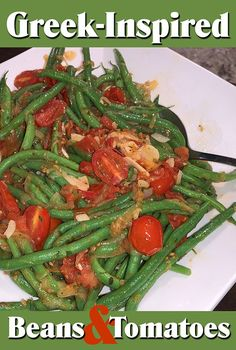 Blanching the green beans first ensures they stay bright green. Use any style of tomatoes, or a combination of several such as grape, cherry, plum, etc. Bright Green, Green Beans, Side Dishes, Roast, Greek, Dinner, Vegetables, Tomatoes, Plum