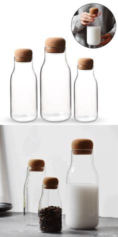 Cork Glass Mason Jar | Mason jar | Food Storage | Organization | Organizers | Order | Home decor | Kitchen Design | Kitchen Storage | Kitchen Accessories | Kitchen Tools | Storage | Space Saving  #corkjar #glasscorkjar #orderconcept