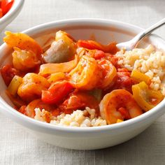 Quick Shrimp Creole Recipe -My mother made shrimp Creole when I was growing up, so I've carried on the family tradition. For extra kick, pass the Louisiana hot sauce. Creole Recipes, Cajun Recipes, Shrimp Recipes, Low Carb Recipes, Cooking Recipes, Healthy Recipes, Cajun Food, Shrimp Meals, Ww Recipes