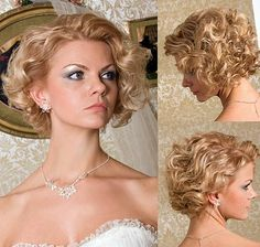 classy vintage wedding hairstyles for short curly hair