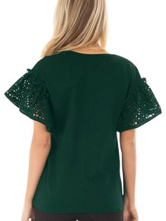 0973ef94a34133 EastLife Womens Summer Lace Shirts Casual Ruffle Hollow Short Sleeve Round Neck  Tops   Check out the image by visiting the link. (This is an affiliate link)